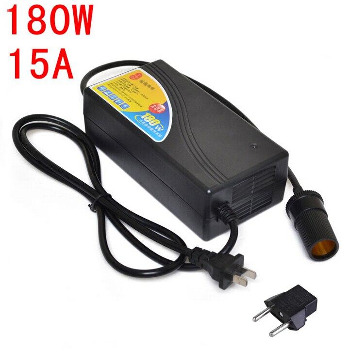 180 W convertidor de energía AC 220 V (100 ~ 250 V) entrada DC 12 V 15A salida adaptador alimentación del coche enchufe del encendedor