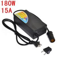 180W Power converter ac 220v(100~250v) input dc 12V 15A output adapter car power supply cigarette lighter plug