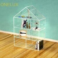 Напольная подставка дом форме прозрачного акрила книжный шкаф, пользовательские lucite книжные полки, дисплей Полки-70 Вт 30D 100 h см