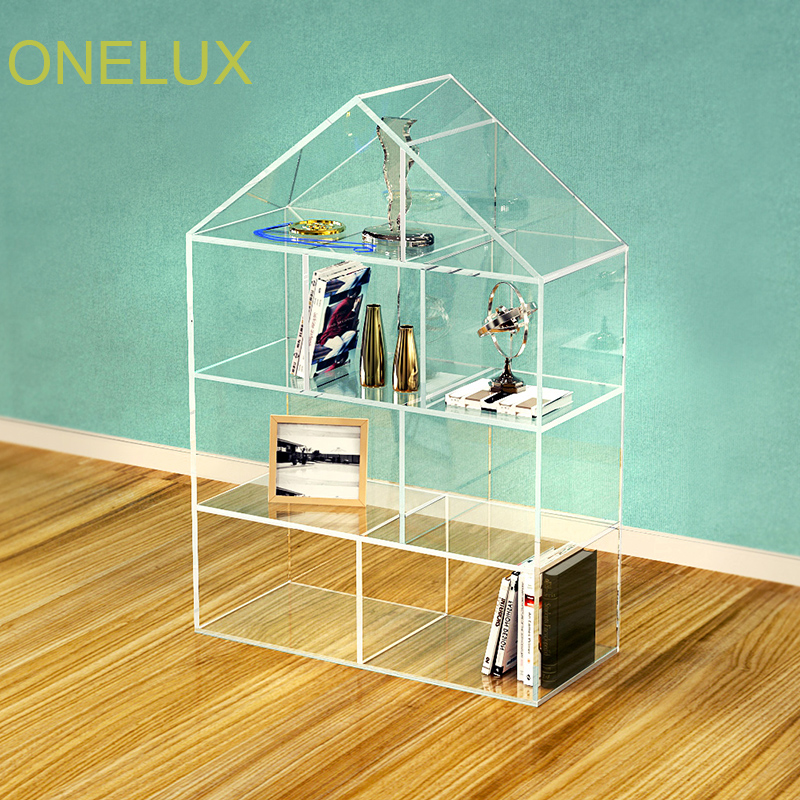 Acrylic Stand Designs : Floor stand house shaped clear acrylic bookcase custom