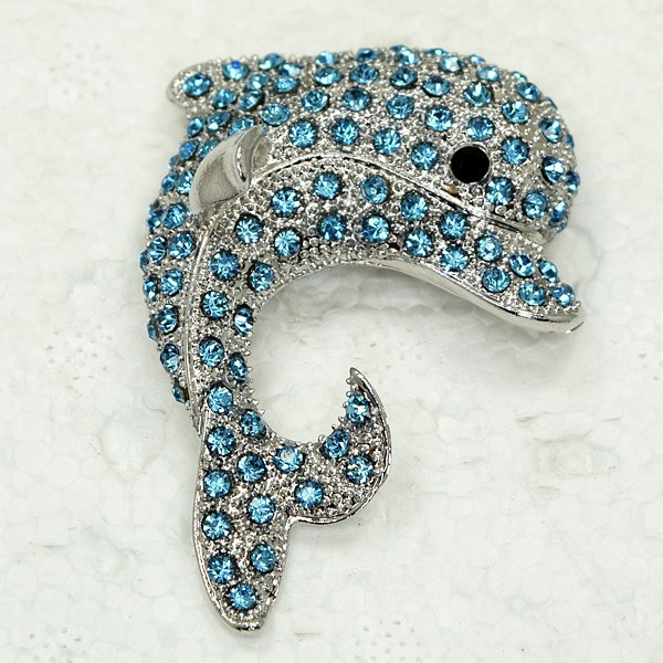 Brooch pendant Crystal Rhinestone Porpoise Pin brooches C515 R