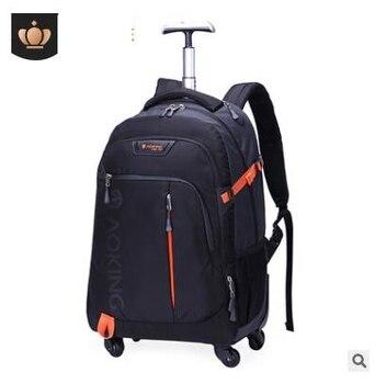 d0041f1073eb Для мужчин Дорожная сумка тележка подвижного Чемодан рюкзак сумки на колесах  колесных рюкзак для Бизнес Cabin дорожная сумка тележка чемодан