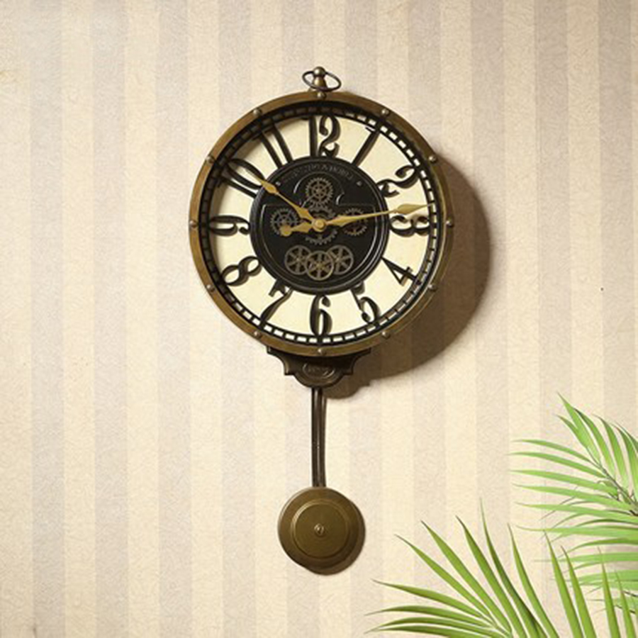 Grande horloge murale créative en métal Design moderne décor à la maison Vintage nordique cuisine pendule horloge Klok horloges murales de luxe 50CW348