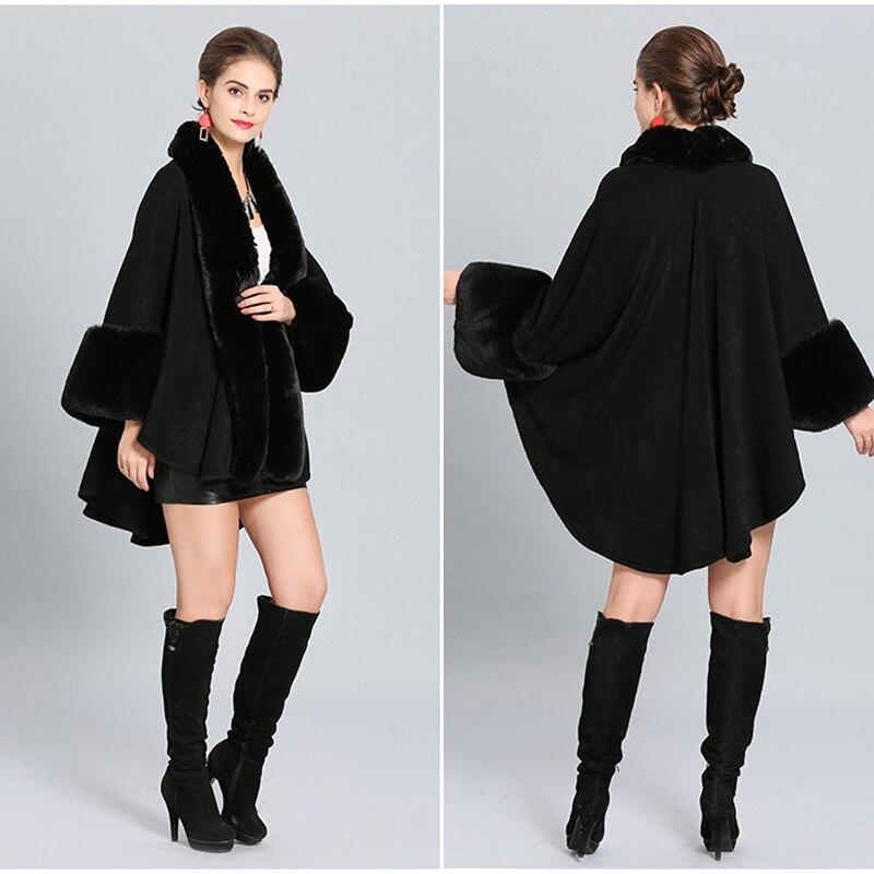 Chal Invierno Nueva Zorro Piel Punto Capa Cálido Cabo De Moda Vestido Abrigo  borgoña Mujeres Cachemira Grey Imitación ... e2a4e6de1f4e