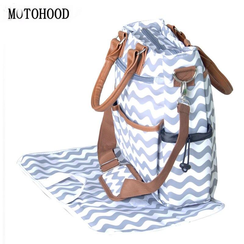 MOTOHOOD bolsa de pañales para bebés para mamá moda momia bolsa de pañales de maternidad impermeable gran capacidad organizador de bolso de bebé 33*35*15cm