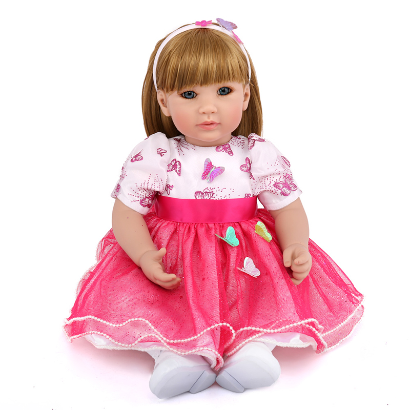 50cm Girl Princess Doll Reborn Soft Silicone Boneca Baby Alive Doll Baby Reborn Christmas Gift for Kids 22 58cm rebirth doll soft silicone eva matryoshka doll princess reborn domino dress blond kid christmas gift