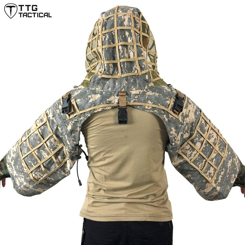 Base de costume de Sniper tactique ttg Ghillie, Camouflage RIPSTOP Sniper Tog Ghillie Hood boisé/CP/ACU/océan/forêt numérique - 2