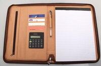 A4 Zipper Leather Portfilio With New Design Calculator Zip Manager Document Bag Business File Folder Brief