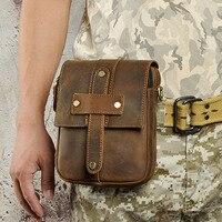 New Men Crazy Horse Genuine Leather High Quality Retro Crossbody Messenger Shoulder Bag Belt Waist Fanny