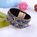 12pcs Fashion Women Trendy Rhinestone Natural Stone Magnet Buckle Wrap Leather Bracelet black/ red /Tiger eye pulseras mujer