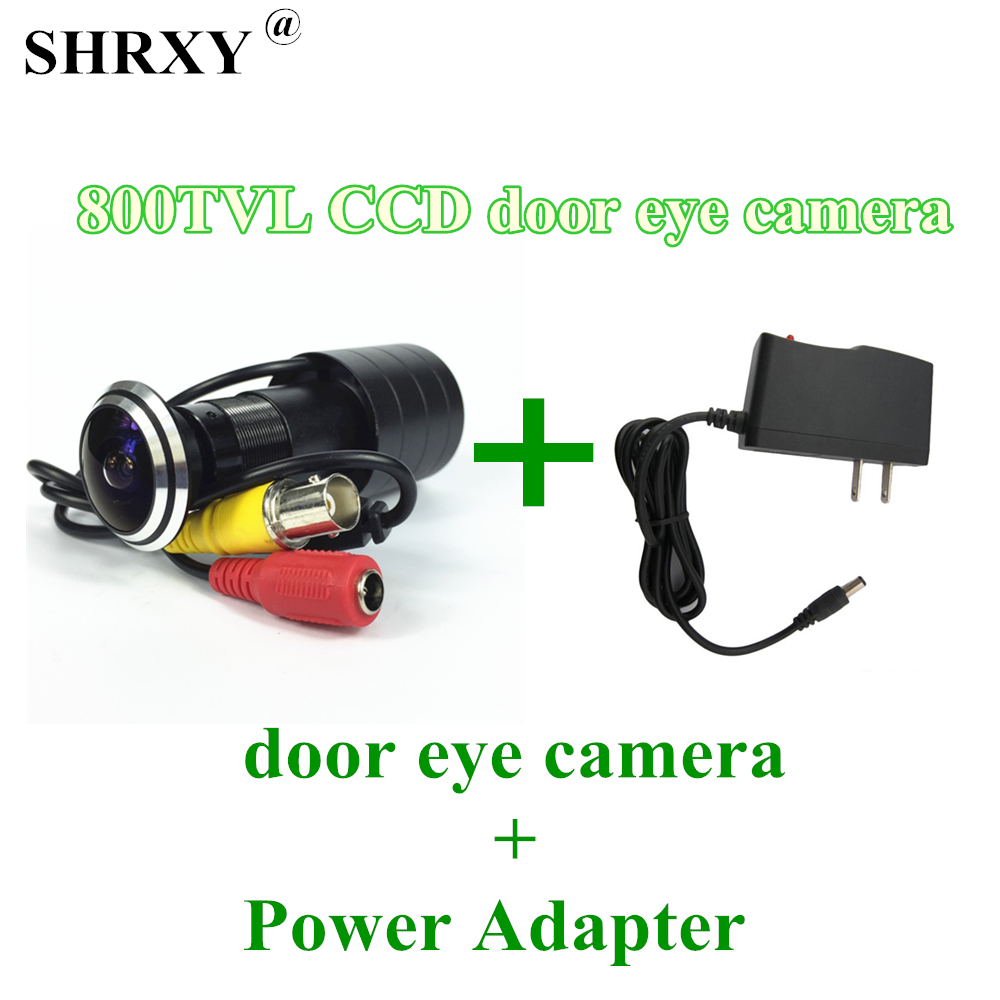 SHRXY HOTsell Weitwinkel 800tvl CCD Wired Mini Tür Auge loch Video Kamera Farbe DOORVIEW mini Cctv-kamera mit 12V1A Adapter