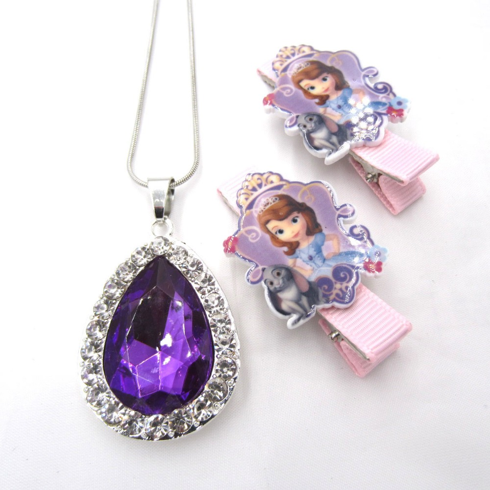 1set Sofia The First Necklace For Kids Girl Hairpin Purple Amulet Pendant Necklaces Children Hairwear Birthday Gifts Jewelry set