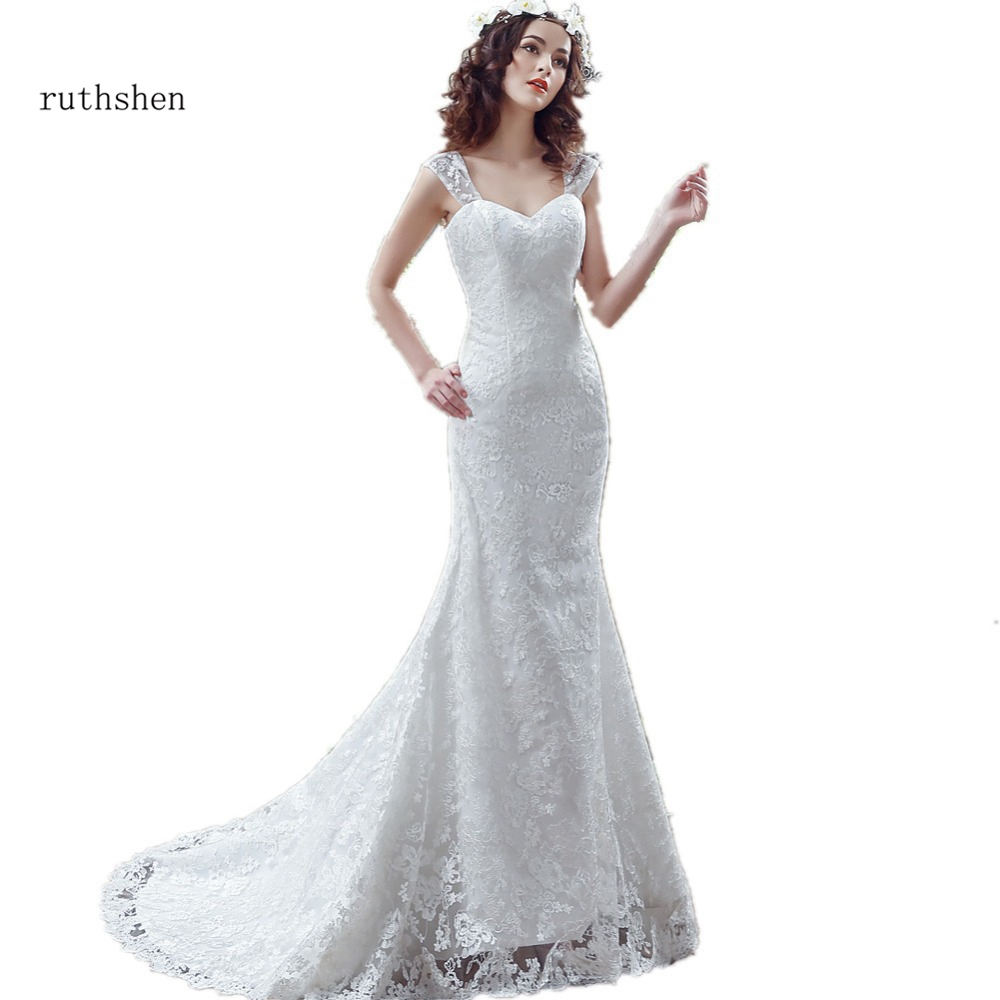 Wonderful Lace Mermaid Wedding Dress With Cap Sleeves Sweep Train Lace Up Vestidos Baratos Real Photo White / Ivory Bridal Gown