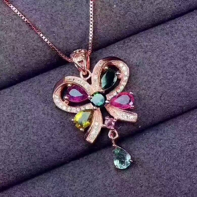 natural multicolor tourmaline pendant 925 Sterling silver Natural gemstone Pendant Necklace luxury butterfly women girl jewelrynatural multicolor tourmaline pendant 925 Sterling silver Natural gemstone Pendant Necklace luxury butterfly women girl jewelry
