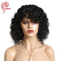 Malezja Ludzki Włos Koronki Przodu Peruk Hesperis Black Women Loose Curl krótki Ludzki Włos Peruki Z Hukiem Z Dzieckiem Włosy 150 Gęstość