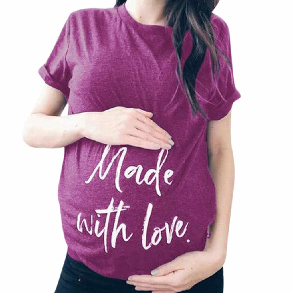 Футболка для беременных Для женщин короткий рукав для беременных и кормящих футболка с буквенным принтом топы ropa maternal6.33gg