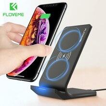 Floveme 10w qi carregador sem fio para iphone 12 11 xr 8 plus usb carregamento sem fio para samsung s8 s10 s9 note9 carga para o telefone