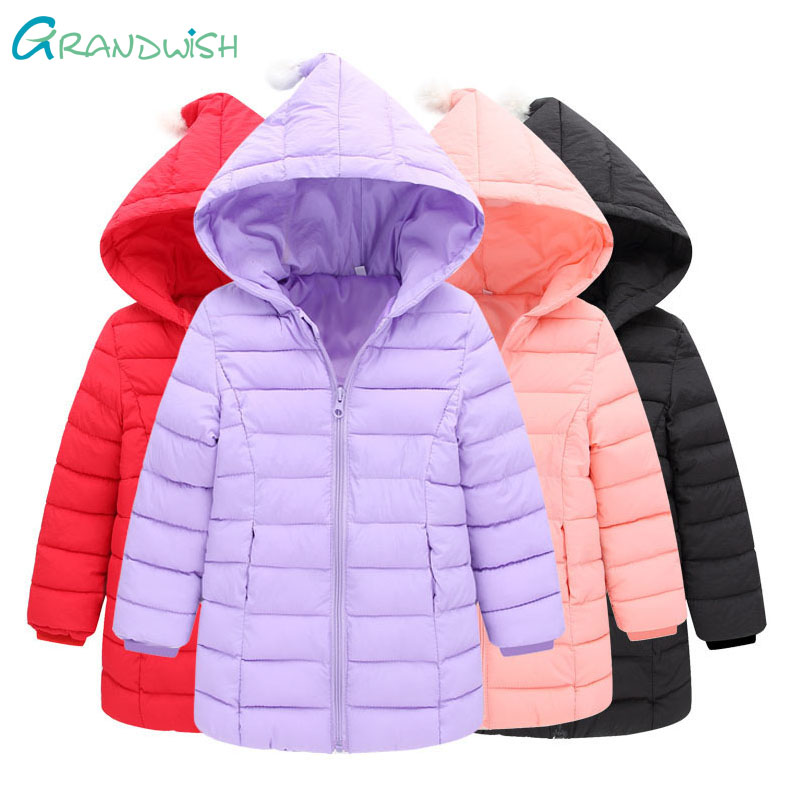 Grandwish Light Long Hooded Coat for Children Winter Warm Parkas Solid Outerwear Girls Down Jacket Clothes for Kids 24M-8T,TC159 children winter coats jacket baby boys warm outerwear thickening outdoors kids snow proof coat parkas cotton padded clothes