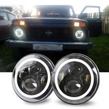 2Psc 7 дюймов светодиодный фар H4 Hi-Lo с Halo Ангельские глазки для Lada 4×4 urban Нива джип JK Land rover defender Hummer
