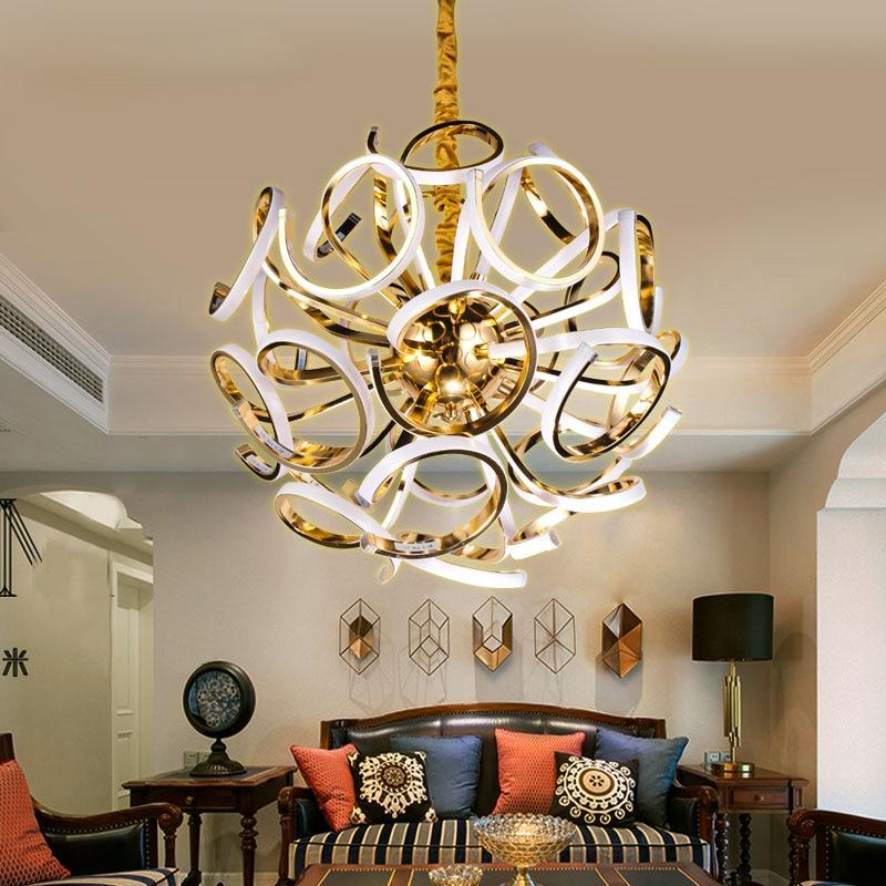 Z post moderne goldene led pendelleuchte luxus villa lampen ...