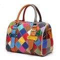New Exquisite Craft Weave Multi Color Stitching 100% Genuine Leather Handbag Cow Leather Shoulder Bag Messenger Woman Boston Bag