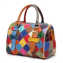 New Exquisite Craft Weave Multi Color Stitching 100% Genuine Leather Handbag Cow Shoulder Bag Messenger Woman Boston