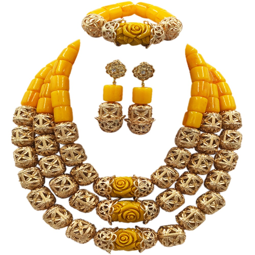 Fashion Gold Bead and Yellow Artificial Coral Beads Jewelry Set African Necklace Nigerian Wedding Bridal Jewelry Sets ACB-14 latest yellow and gold beaded artificial coral nigerian wedding african beads jewelry set acb 11