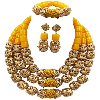 Fashion Gold Bead and Yellow Artificial Coral Beads Jewelry Set African Necklace Nigerian Wedding Bridal Jewelry Sets ACB-14