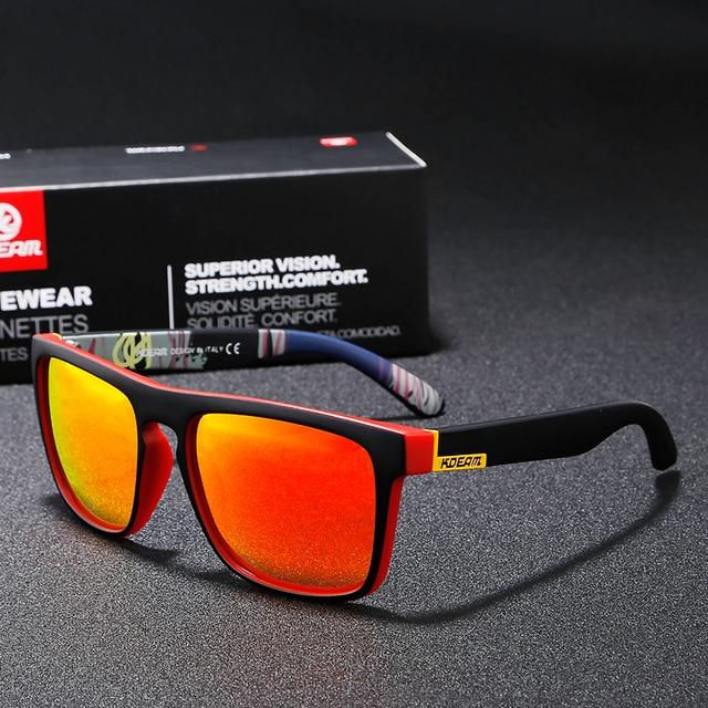 8c436b114 KDEAM verano gafas de sol hombres deporte gafas de sol polarizadas mujer  espejo lente verde marco cuadrado UV400 CON CAJA Original KD156