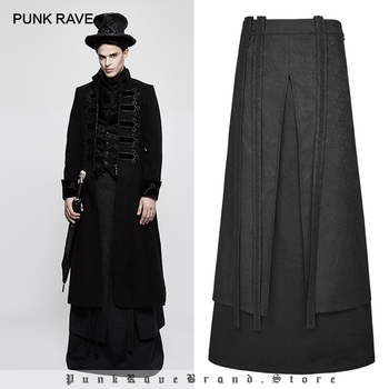 PUNK RAVE Men's Gothic Skirt Vintage Stage Performance Cosplay Costume Evening Party Personality Scottish Long Skirt for Men