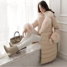 Горячая Распродажа, женская зимняя куртка с большим меховым воротником из искусственного лисьего меха, Женское пальто, Европейский стиль, 90% белый утиный пух, парка WUJ0735