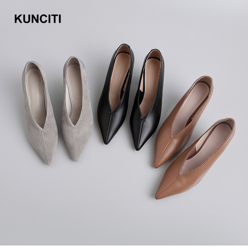 2019 KUNCITI Pointy Toe Genuine Leather Woman Shoes Sexy Ladies High Heels Mary Jane Shoes For Women Office Ladies Pumps G986