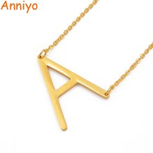 Anniyo A-Z Letter Necklaces Alphabet Initial Necklace Gold Color Stainless Steel Pendant Necklaces Women Jewelry Gift #015121-19(China)