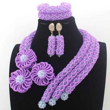 Fashion New Lavender Crystal nigerian Wedding African Beads Jewelry Sets Indian Handmade Jewelry Bridemaid Jewelry Sets W13709