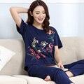 Пижамы Для Молодых Женщин Летом С Коротким Рукавом Пижамы Брюки Хлопок Пижамы Плюс Размер Женщин гостиная Пижамы Наборы