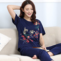 Pajamas For Young Women Summer Short Sleeve Sleepwear Trousers Cotton Pyjamas Plus Size Women lounge Pajama Sets