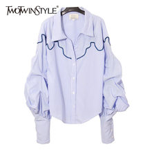 TWOTWINSTYLE Striped Shirt Women Lapel Collar Ruched Lantern Sleeve Loose Blouse Tops Female Casual Clothes Fashion 2019 Spring(China)