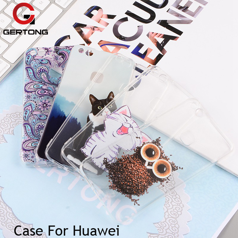 GerTong Soft Silicone Pattern Flowers Cat For Huawei P7 P8 P9 P10 Lite Y6ii Phone Case For Huawei Honor 8 4C 6X Cover Back