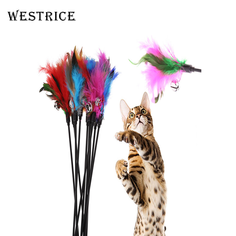 Westrice Long Rod Pets Toy Fashion Cat Play Feather Teaser Small Feather Stick Funny Cat Toys Pet Toys Dog Toy 10