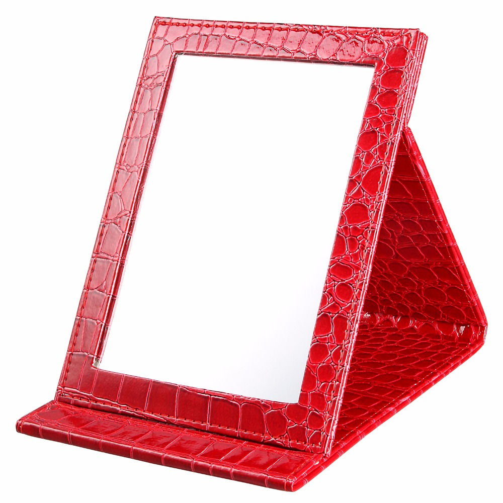 Size L:18*25.5*1.6CM Portable Foldable Makeup Mirror Leather Cosmetic Mirror Alligator Pattern Women Beauty Make Up