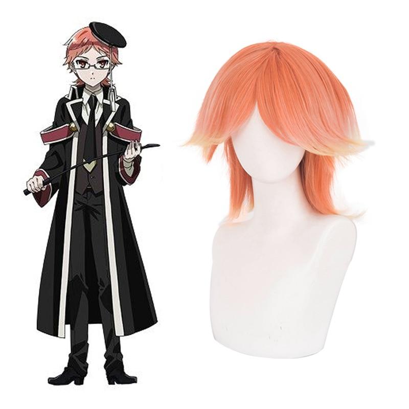 Anime The Royal Tutor Cosplay Wig Wittgenstein Heine Orange Short Straight Adult Facial Hair