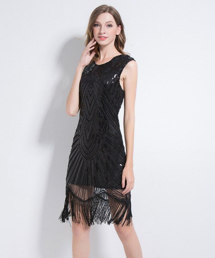 f349511ece8 Women s Flapper Dresses 1920s V Neck Sequin Beaded Tassel Fringed Great  Gatsby Dress