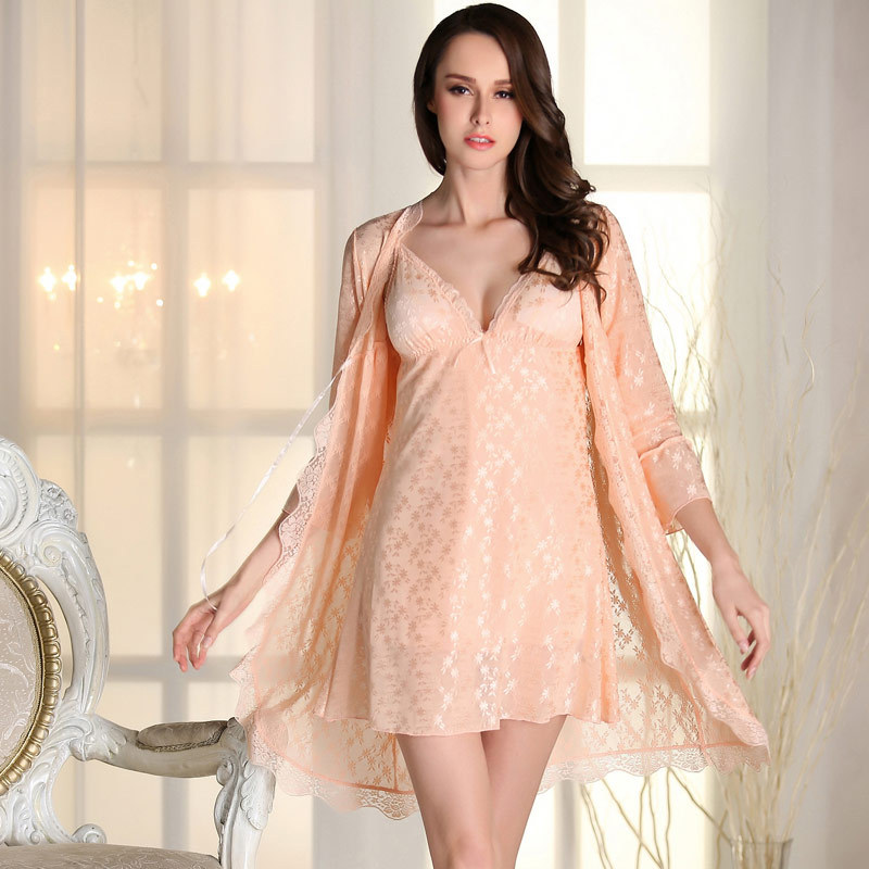 2 Pics sexy summer Nightgown robes with lace bra pink font b Babydoll b font Lace