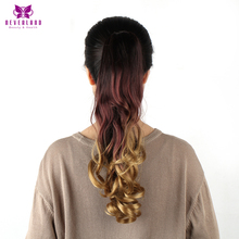Neverland 20″ 50cm Curly Synthetic Hair Tail  Brown Rainbow Ombre Claw On Hair Extensions High Temperature Fiber Ponytails