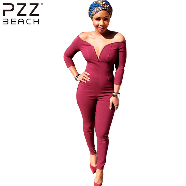 44bf7073fda3 Off Shoulder Fitness Jumpsuit Bodycon Womens Elegant Floral Big Plus Size  Party Club Overalls Sexy Rompers Ladies Jumpsuit Red