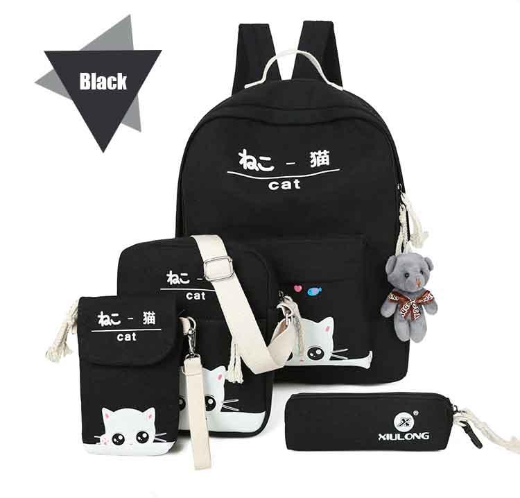 Leather Vesnazima 5 Pcs set Women Backpacks Cute Cat School Bags For ... 1bc3f9930e98c