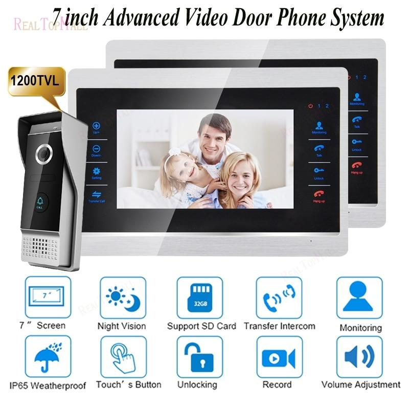 Video Door Intercom Door Phone Recording Doorbell Camera Intercom 7 Inch 1200TVL HD Additional Monitor Support
