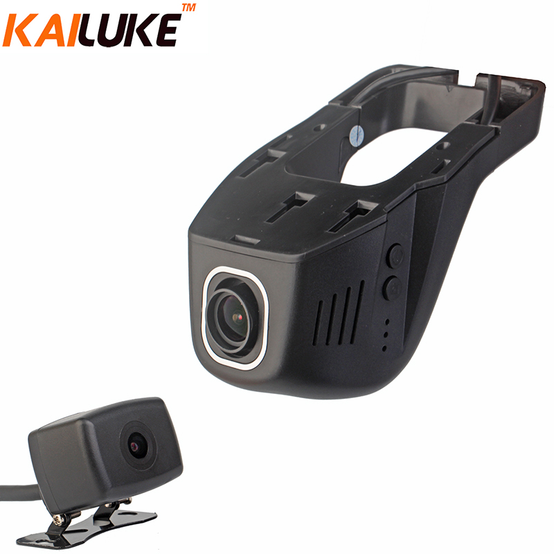 imágenes para KAILUKE Novatek 96663 Wifi Coche DVR de Doble Cámara Del Coche DVR de Vídeo IMX291 IMX323 Monitor grabador Dash Cam Cuadro Negro Full HD 1080 P