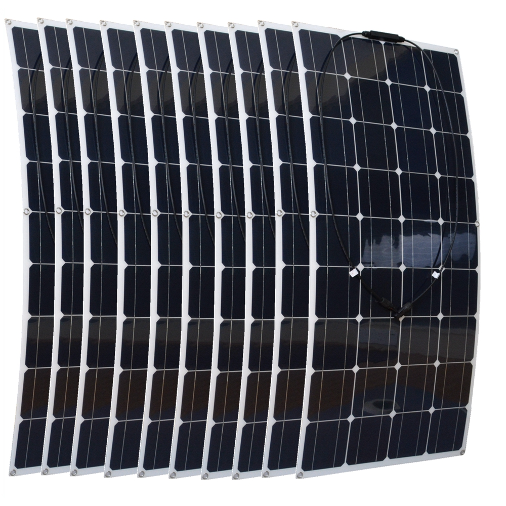 1000W Flexible Solar Panel 10x 100w Solar Module Mono Cell Boat Car House RV Charger Houseuse 1000W Solar System 50w 12v semi flexible monocrystalline silicon solar panel solar battery power generater for battery rv car boat aircraft tourism