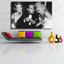 Marilyn Monroe With Humphrey Bogart And Lauren Bacall Canvas Posters Prints Wall Art Painting Decorative Picture